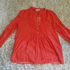Kenar Long Sleeve Blouse Orange Geometric Pattern